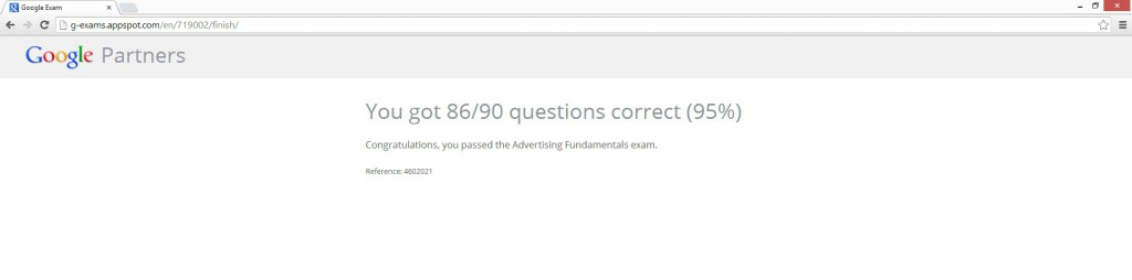 Google Partner Exam Score