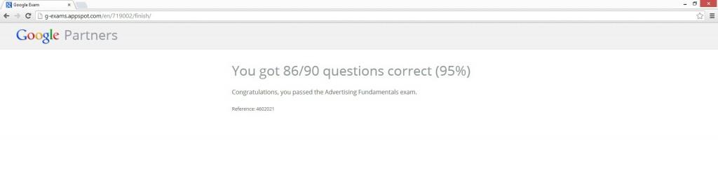 Google Partner Exam Score
