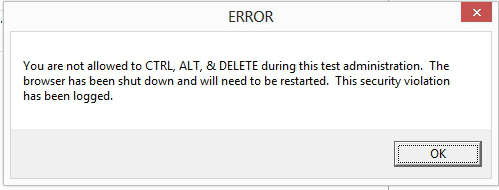 Testing Center Browser Error