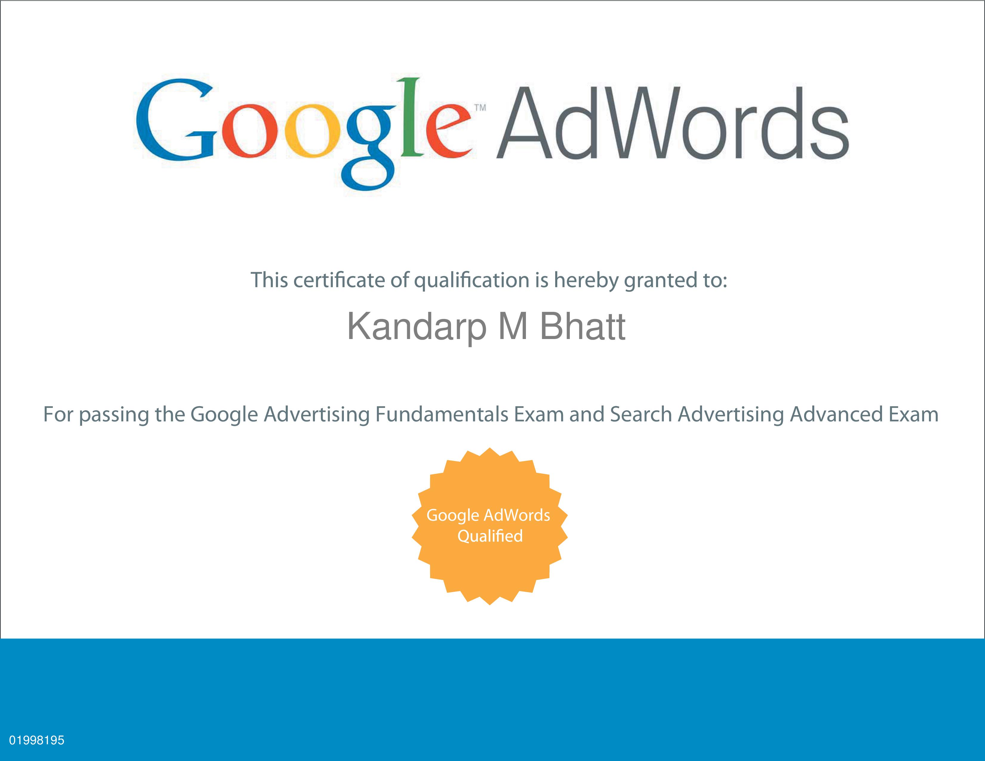 Kandarp M Bhatt Google Adwords Certificate