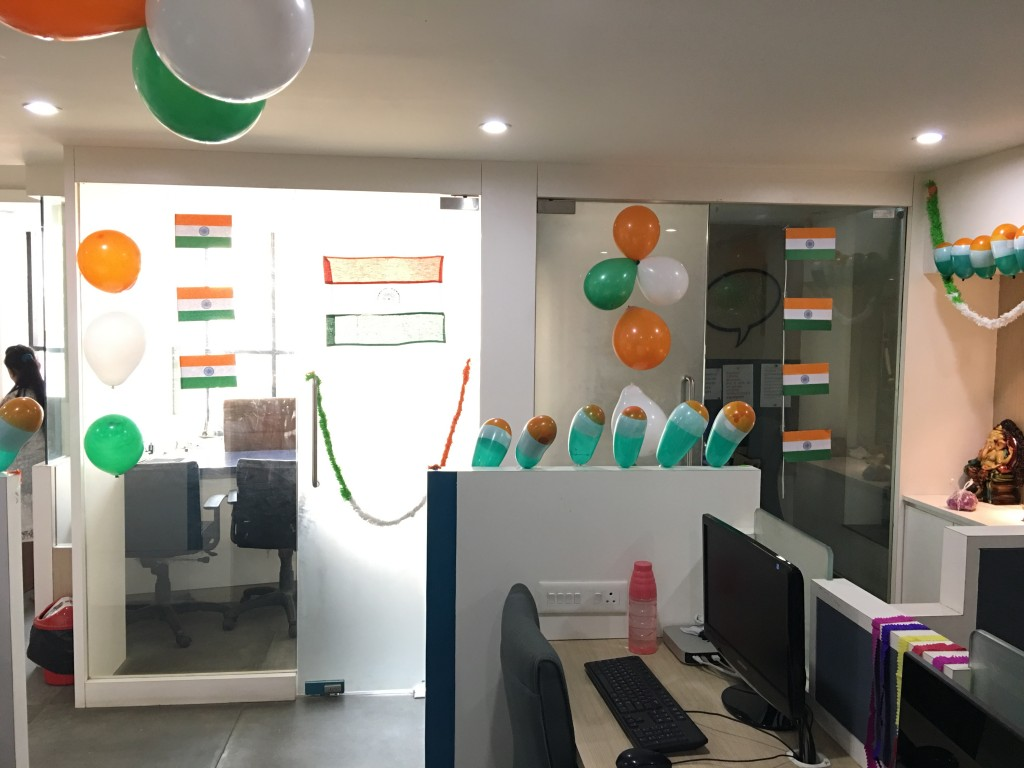 decorated with tricolour ribbons and balloons