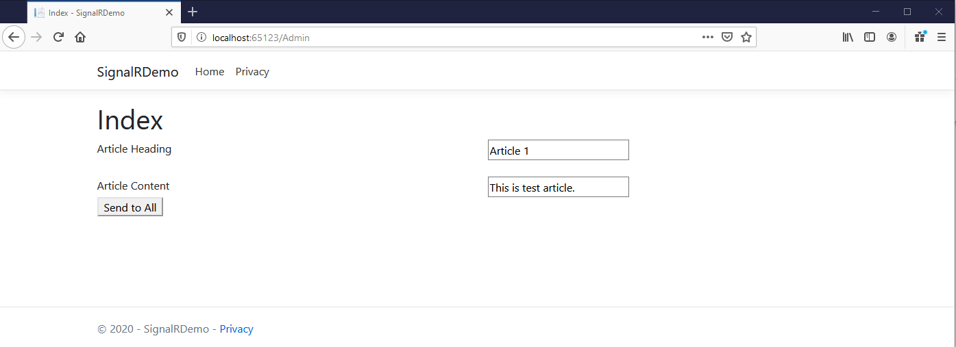 Index Screen